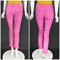 Womens Odd Molly Skinny Jeans Pants Pink Embroidered Floral Size 2 / UK10