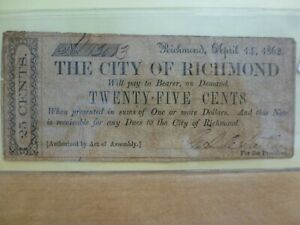 1862 The City of Richmond - VA. 25 Cent Obsolete Currency #3003