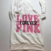 Victoria Secret Love Pink Forever Off White Full Zip Hoodie Sz M A1402