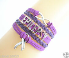 New Infinity EPILEPSY Cancer Ribbon Charms Suede Leather Braided Bracelet PURPLE