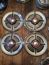 """1965 Ford Galaxie LTD Hubcaps. 15"""" With Red Ford Imprint"""