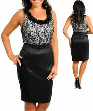 B89 Womens Black Size 16/18 Sleeveless Pencil Midi Work Office Day Lace Dress