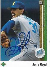JERRY REED SIGNED 1989 UPPERDECK #529 - SEATTLE MARINERS