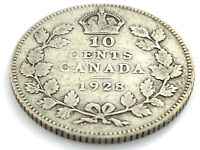 1928 Canada 10 Ten Cent Dime Circulated George V Canadian Coin L394