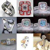 Women 925 Silver Zircon Crystal Jewelry Wedding White Sapphire Ring Size 5-12