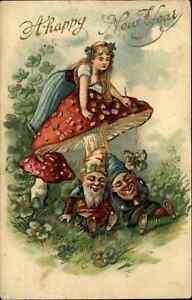 New Year Fantasy Little Girl on Giant Mushroom Sleeping Gnomes Elves Postcard