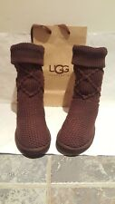 Original ugg uggs nitted boots size 6.5 or eu 39 brown colour.