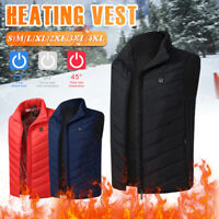 XXL Unisex Electric Heated Jacket Vest Coat USB Winter Warmer Heating Clothes US