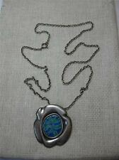 Arts & Crafts Necklace Mid-Century Eames Era Modernist Enamel Sterling Silver