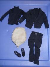 1/6 scale Yamoto Modern Black Suit jacket pants sweater shoes FAT SUIT padding