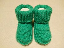 Baby Kids Knitted Green Mint Slippers Handmade Shoes