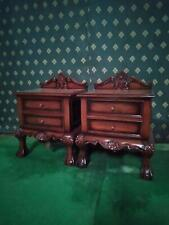 Pair of Mahogany Wood Rococo french style Jacobean Bedside tables, nightstands .