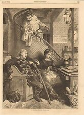 French Cafe, A Prussian Officer Under Fire, Romance, Vintage 1871 Antique Print