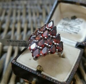 Natural Red Garnet Sterling Silver Ring, Cocktail,  Size N½, BNWT, RRP £178