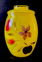 VNTG Retro Bartlett Collins Cookie Jar, Yellow glass hand painted flowers,