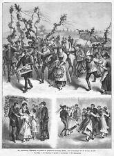 Žatec, Saaz,  Hopfen-Ernte, Sammelblatt, Original-Holzstich von  1885