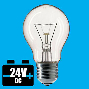 6x 60W 24V Low Voltage GLS Clear Dimmable ES E27 Edison Screw Light Bulb Lamp