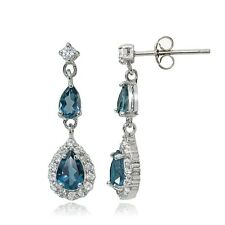 Butterfly Fastening Topaz Drop/Dangle Fine Earrings