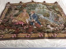 Marc Waymel French Antique Wall Hanging Tapestry Titled Jardin D'Amour - 1987