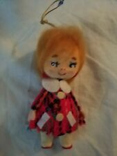Vintage Christmas Ornament Made In Japan, Red Hair Girl, Plaid Dress