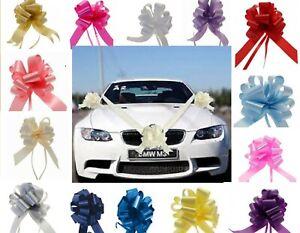 WEDDING CAR  DECORATION 8 MTRS RIBBON + 1 3 or 5 PULL BOWS PROM BRIDAL PEWS GIFT