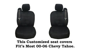 Black Scottsdale Customized seat covers Fit's 00-06 Chevy Tahoe, Chevy Suburban.