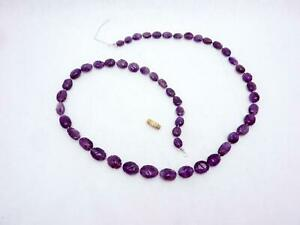 Antique Victorian Carved Amethyst Bead Necklace For Repair or Scrap 25693