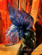 ROYAL BLUE fascinator#9 TURQUOISE feather Melbourne Cup Wedding Spring Race