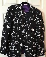 Men's Opposuits Suit Costume, Halloween Black w Star Pattern Size 42