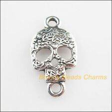 4Pcs Tibetan Silver Tone Halloween Skull Charms Connectors 15.5x29mm