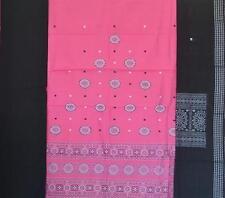 Cotton Handwoven Salwar kameez unstitched Bomkai in Light Pink with Black - Fish