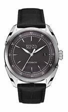 Bulova Accu Swiss Men's 63B188 Tellaro Automatic Black Leather Strap 42mm Watch
