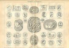 """Alte Tafel - Thema """"Gemmen und Kameen""""  von 1895   (BE-2)"""