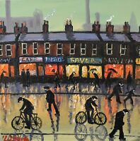 Fantastic James Downie Original Oil Painting - The Local Shops (Northern Art)