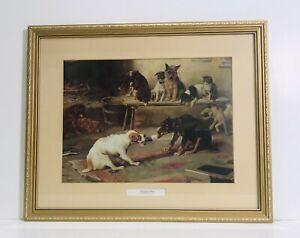 Vintage Framed W H Trood 1840 - 1899. THE CHRISTMAS CRACKER Dog Print