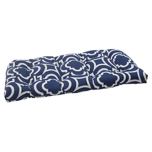 Pillow Perfect Outdoor Carmody Wicker Loveseat Cushion, Navy
