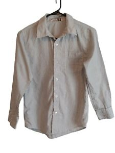 OLD NAVY YOUTH BOYS LONG SLEEEVE WHITE & BLACK STRIPED BUTTON UP SHIRT LARGE