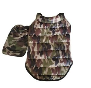 Top Paw Dog Green Camo Puff Vest Jacket & Carrying Bag Size M