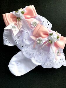 GIRLS WHITE LACE-ANKLE SOCKS-DIAMANTES-PEARLS-CHRISTENING-SPECIAL OCCASION
