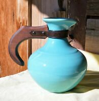 Vintage Franciscan Turquoise Pottery Pitcher Carafe Made in California USA