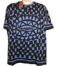 Missoni Blue Black Logo Cotton Men's Italy T-Shirt Shirt Sz EU 56 US 46 NEW