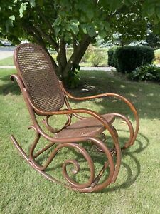 Thonet Style Bentwood Vtg Rocking Chair MCM Rattan Stamped Cottage Wicker