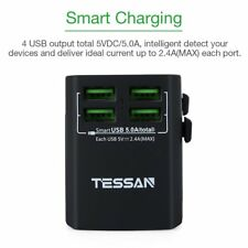 Tessan Universal Travel Adapter Worldwide AC Power Outlet Plug Wall Charger USB