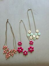 EUC Kohls Fashion Costume Jewelry Necklace Lot Pink Maroon Flowers