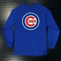 Chicago Cubs Long T-Shirt Graphic Cotton Men Adult Logo Jersey Chi Word