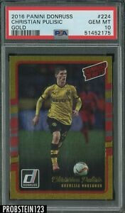 2016-17 Donruss Gold Soccer Debuts #224 Christian Pulisic RC Rookie PSA 10