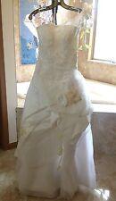 NEW One Shoulder Floor Length Organza Wedding Gown Formal Dress w/ Peach Flowers