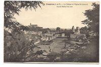 fougères  le chateau et l'église st-léonard ,vue du rocher du lion