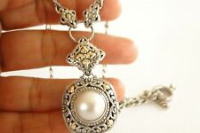 White Mabe Pearl 18K Gold Vermeil Ornate 925 Sterling Silver Chain Necklace