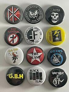"Punk Rock 1"" 12 Button Set P004BS Badge Pin Lot GBH Fear Ramones Misfits Germs"